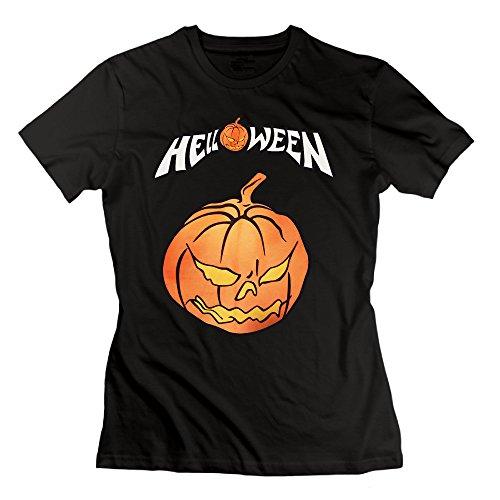 Xiwang Women's Pumpkins Halloween Logo 100% Cotton Tee Shirts S]()