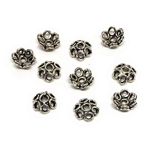 Oxidized Sterling Silver Bead caps 6mm Flower Design (20) (Oxidized Bead Design)