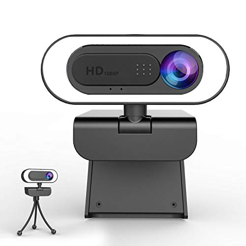 🥇 lesvtu Webcam PC con Microfono y Anillo de Luz