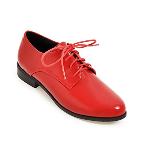 Women Low Heel Dress Pumps Loafers Oxfords Lace Up PU Leather Non Slip Comfort Round Toe Casual Shoes Red