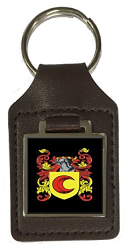 Eaton Heraldry Surname Coat Of Arms Brown Leather Keyring Engraved