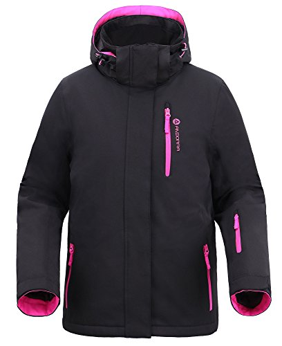 Women Insulated Windproof Mountain Fishing Hiking Snowboarding Jacket,Blk/Pink,M
