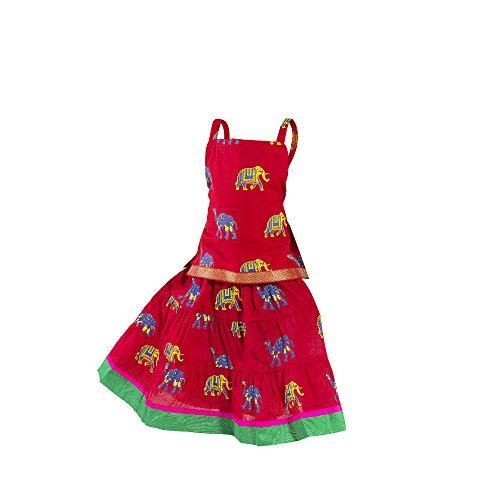 Choli Set - Ethnic set cotton animal printed Lehnga Choli Multi color Beautiful Kids wear for baby girls (1-2 Year, Red)