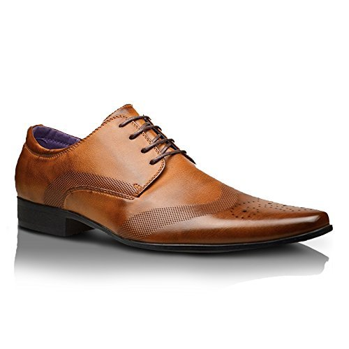 Xelay Hommes Habillé Cuir Doublé Fête Bureau Robe Cérémonie Chaussures À Lacets - taille UK 6 7 8 9 10 11 12 - Marron, EU 42