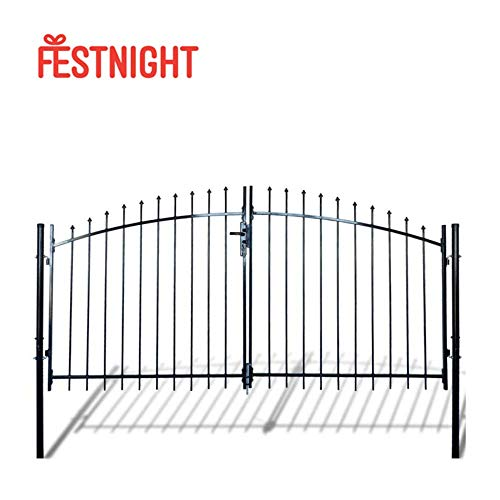 Festnight Outdoor Double Door Garden Fence Gate with Spear Top Heavy Duty Steel Door Fence Practical Barrier Wall with 3 Keys (Black) (6' x 10')