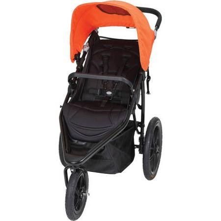 Baby Trend Stealth Lightweight Orange Steel Frame Jogger Strollers with Multi-position Reclining Seat and Adjustable Canopy with Peek-a-boo Window, Poppy
