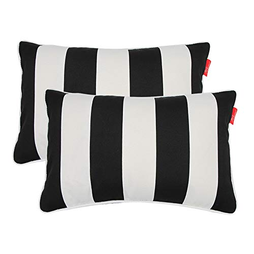 """Pcinfuns Outdoor Decorative Pillows with Insert Black and White Throw Pillow Covers All Weather Patio Cushions 19"""" x 12"""" Set of 2"""