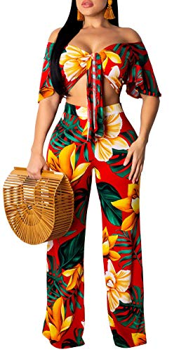 (Women's Two Piece Sets Floral Tie Front Short Sleeve Crop Tops Long Pants Jumpsuits Orange Red)
