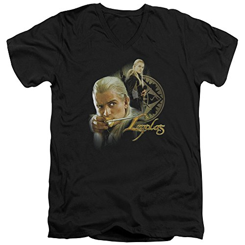 Lord Rings Legolas Bow - The Lord Of The Rings Movie Legolas Stare With Bow Adult V Neck T Shirt Tee
