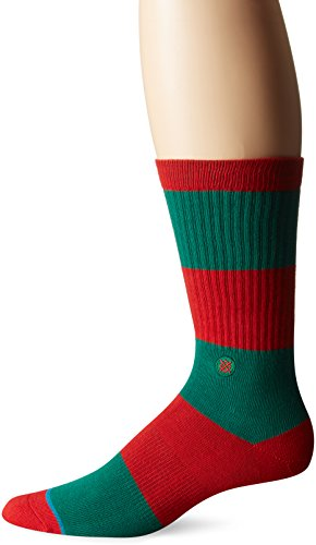 Stance Men's Cadet 2 Bold Wide Stripe Arch Support Classic Crew Sock, Green, L (Cadet Footwear)