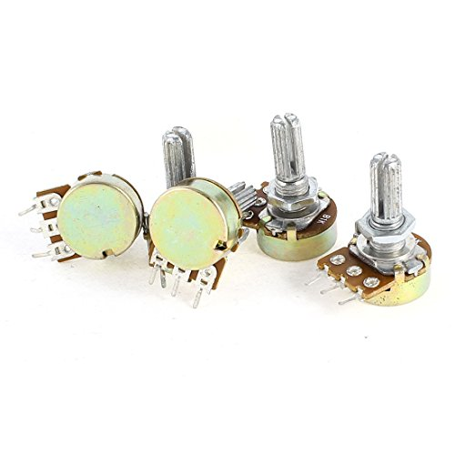 Uxcell a14052200ux0338 5 Pieces B1K 1K Ohm Metal Rotating Shaft Single Linea Rotary Taper Potentiometer