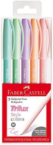 Caneta Esferográfica, Faber-Castell, Trilux Style Colors, 5 Cores Pastéis