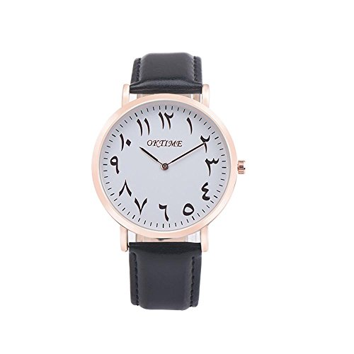 Hemlock Fashion Men's Women's Retro Watches PU Leather Strap Quartz Wristwatch Black