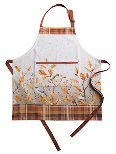(Maison d'Hermine Oak Leaves 100% Cotton Apron with an Adjustable Neck & Hidden Center Pocket 27.5 Inch by 31.5 Inch.)