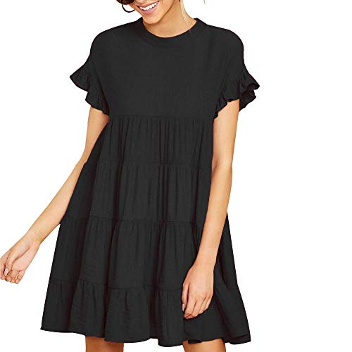 Joteisy Women's O Neck Ruffle Sleeve Tiered Casual Mini Dress (M, Black)