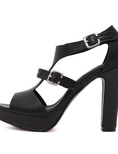 GGX/ Damenschuhe-High Heels-Lässig-PU-Blockabsatz-Absätze-Schwarz / Braun black-us8 / eu39 / uk6 / cn39