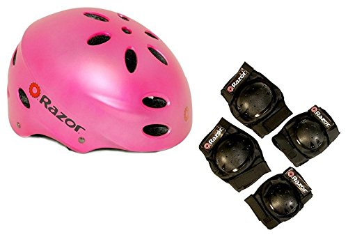Razor V17 Youth Skateboard / Scooter Pink Sport Helmet w/ Elbow & Knee Pads