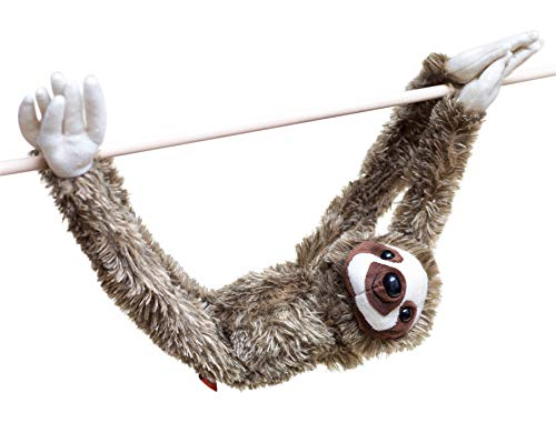 28-Inch Hanging Sloth Stuffed Animal - Ultra Soft Plush Design With Hands And Feet That Connect Together - Realistic Looking Three Toed Sloths - Bring These Popular Sloths Home To Boys & Girls Ages 3+ (Large Animal Stuffed Sloth)