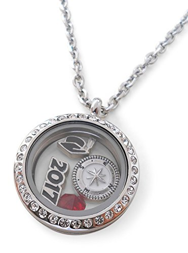 Graduate Gift Locket Necklace with Birthstone - Good Luck on the Path Ahead of You (January - Good Graduates For College Gifts