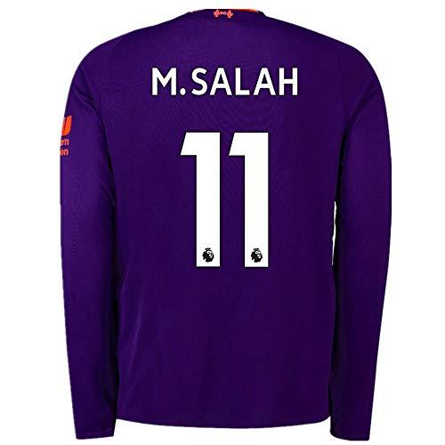 2b8212986 Salah 11 Liverpool Away 2018-2019 Men s Long-Sleeve Socce Jersey Color  Purple Size M