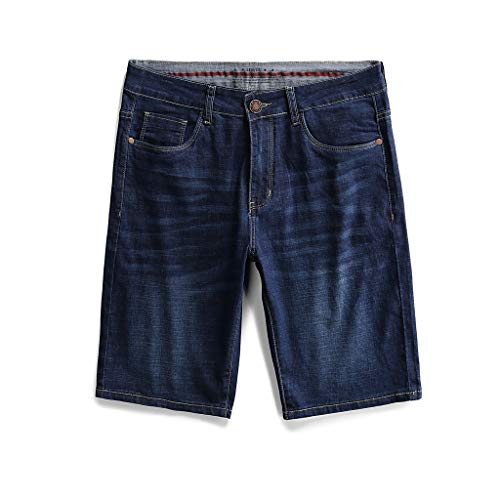 - QueenMMMen's Classic Relaxed Fit Pocket Jean Short Loose Straight Denim Shorts with Zipper