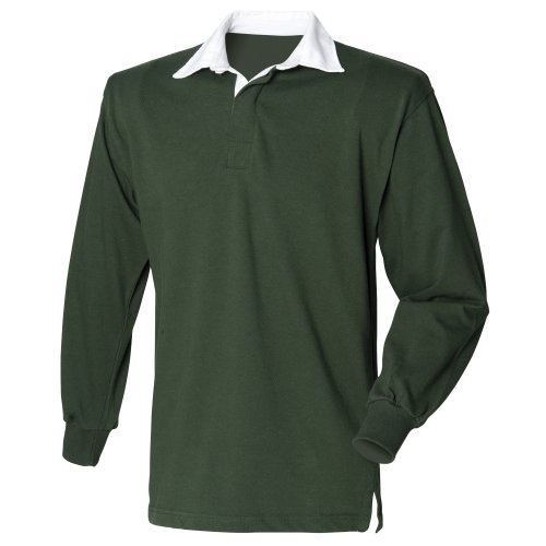 Guinness Rugby Beer - Front Row Mens Long Sleeve Sports Rugby Shirt - X-Large / Chest 43 - 45in - Bottle Green