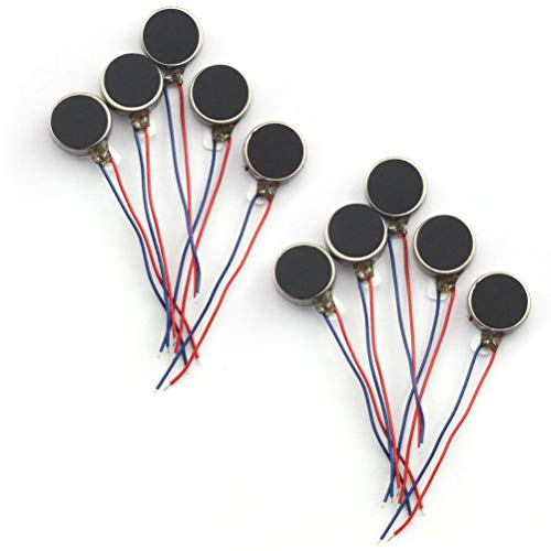 TOTOT 10pcs 10x2.7mm Mini Vibration Motor DC 3V 85mA 12000rpm Flat Coin Button-Type Micro DC Vibrating Motor for Mobile Phone Tablet Household Appliances
