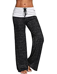Haloon Womens Wide Leg Foldover Heather Flared Yoga Palazzo Pants Casual Trousers