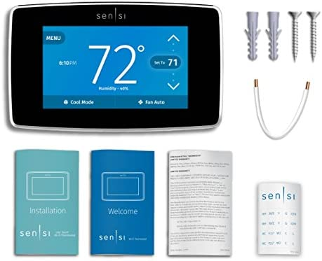 Emerson Sensi Touch Wi-Fi Smart Thermostat with Touchscreen Color Display, Works with Alexa, Energy Star Certified, C-wire Required, ST75 41F7iwAvRDL