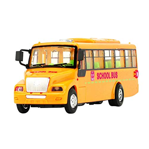 - Toyvian Early Education Bus Model Toy Educational Lighting Music Campus Bus Teaching Games with Button Batteries (Orange)