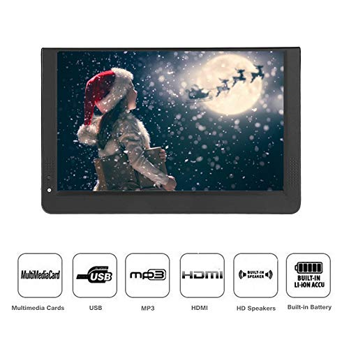 1080P Car Digital TV, 12in Color Screen Television, Portable Handheld ATV/UHF/VHF Stereo Surrounding Car Television for Bedroom, Kitchen, Caravan, Build in Rechargble Battery