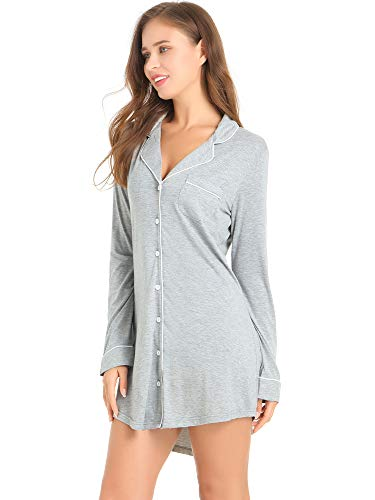 - Amorbella Womens Button Down Night Shirt Long Sleeve SleepShirt Viscose PJ Top Night Gown (Gray,Medium)