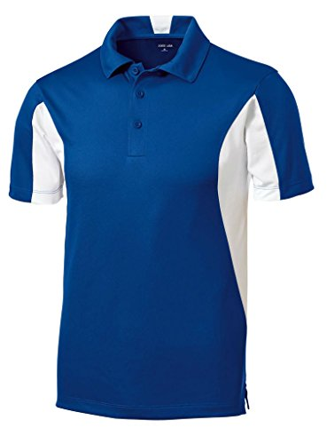 (Joe's USA(tm - Moisture Wicking Side Blocked Micropique Polo-Royal/White-2XL)