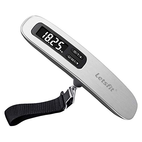 Letsfit Digital Luggage Scale with Hook Strong Straps Tare Function 110lbs or 50kg
