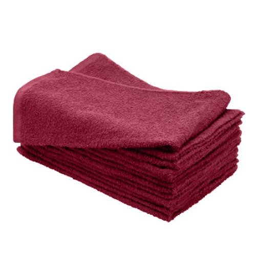 American Terry Mills 100% Cotton Salon Towels Gym Towels Hand Towel, 100% Ringspun-Cotton, Maximum Softness, Absorbency & Durability, Burgundy, 144 Piece