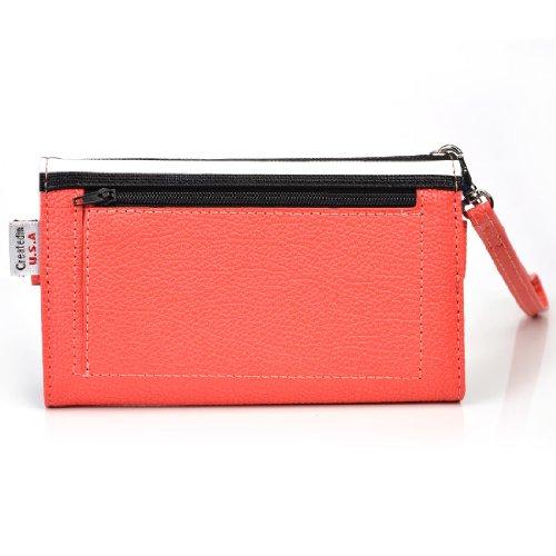 [Safari Metro] PU Leather Women's Wallet Universal Phone Clutch Wristlet fits Samsung Galaxy Note II CDMA Case - STRIPES & CORAL. Bonus Ekatomi Screen Cleaner