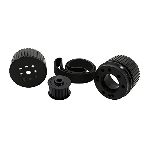 Assault Racing Products 2252KIT-BK Small Block Chevy Black Billet Aluminum Gilmer Belt Drive Pulley Kit Long Water Pump SBC 305 350 (Chevy Aluminum Pulley)