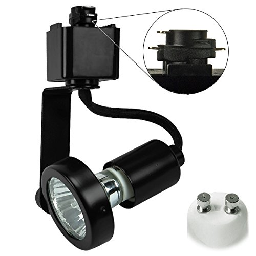 Track Head Mr16 (Black Gimbal Ring Track Fixture Operates 50W MR16 Halo Track Compatible 120V PLT 10045)