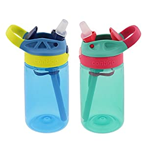 Contigo Kids Autospout Gizmo Water Bottle, 14oz (Nautical Blue/Persian Green) - 2 Pack
