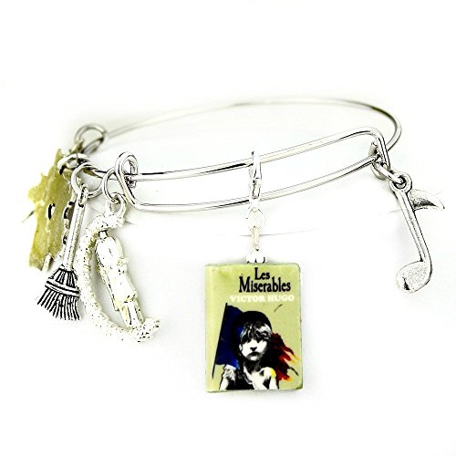 [LES MISERABLES Victor Hugo Clay Mini Book Expandable Bangle Bracelet by Book Beads] (Les Miserables Costumes Fantine)