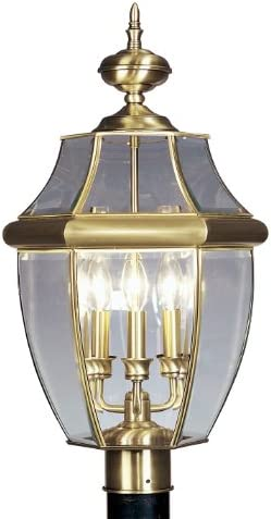 Livex Lighting 2354-01 Monterey 3 Light Outdoor Antique Brass Finish Solid Brass Post Head with Clear Beveled Glass