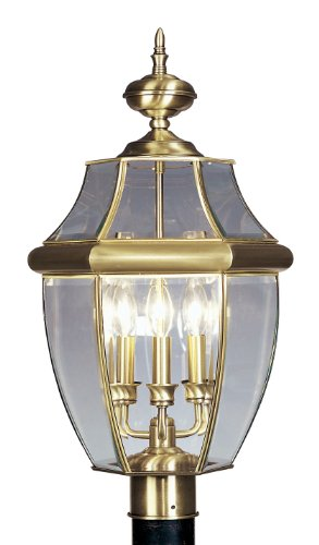 Livex Lighting 2354-01 Monterey 3 Light Outdoor Antique Brass Finish Solid Brass Post Head with Clear Beveled Glass ()