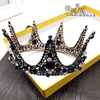 (Quantity 1x darkness_ queen 's_ hand beaded _black_full_turn_ round Crown Tiara Party Wedding Headband Women Bridal Princess Birthday Girl Gift Bridal _dresses_dinner_ Headdress)