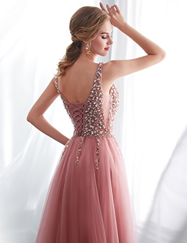 Abschlusskleid Clearbridal Lang Ballkleid Prinzessin 30651 SQS16422 Abendkleid Bandeau Tüll Damen Dunkelrosa xZZSfqwBY