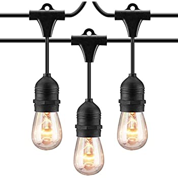 Mpow Outdoor String Lights, 49Ft Incandescent Ambience Added Lights, Sturdy Connectable Weatherproof Dimmer Compatible Strands, 15 Edison Vintage Bulbs, for Patio, Cafe, Porch, Deck, Bistro - Black