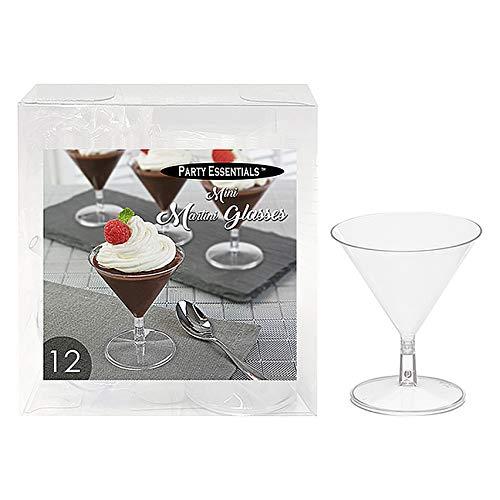 Party Essentials Miniware Mini Plastic Martini Glasses, Clear