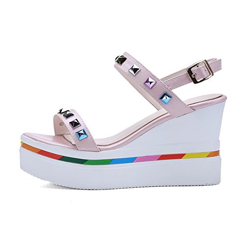 Heels Color AgooLar Toe Pink Open Sandals Studded Assorted Rivet Buckle Women's High with xrIIYnw4Aq