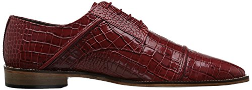 Stacy Adams Mens Raimondo Cap Toe Croc Print Oxford Red