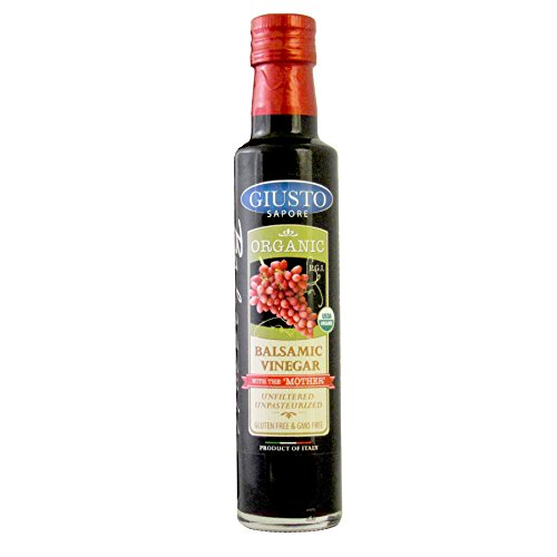 Giusto Sapore Premium Organic Gluten Free Gourmet Balsamic Vinegar of Modena made with Mother 8.5oz - Imported from Italy and Family Owned