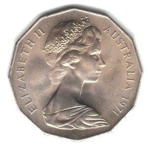 - 1971 Australia 50 Cents Coin KM#68